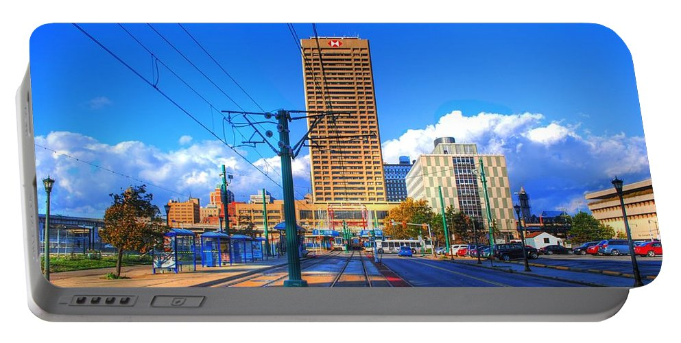Portable Battery Charger featuring the photograph View Of Downtown Buffalo From The Tracks by Michael Frank Jr