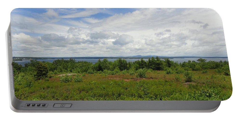 Blue Sky Portable Battery Charger featuring the photograph View Of Maine Bay by Meandering Photography