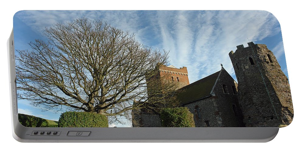 Tree Portable Battery Charger featuring the photograph View Of St Mary Church And Clouds In Dover Castle by Ashish Agarwal