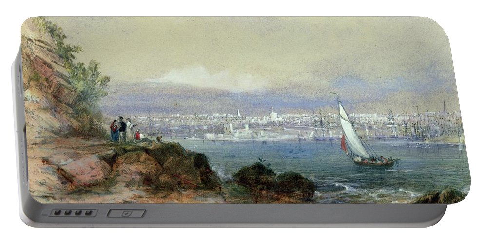 View Of Sydney Harbour Portable Battery Charger featuring the painting View Of Sydney Harbour by Conrad Martens
