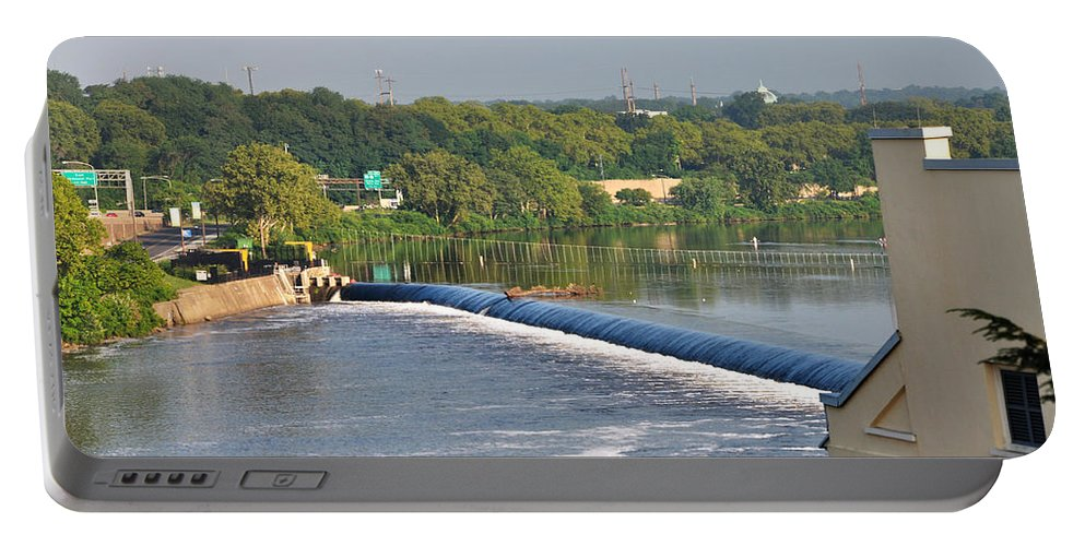 View Of The Fairmount Dam Portable Battery Charger featuring the photograph View Of The Fairmount Dam by Bill Cannon
