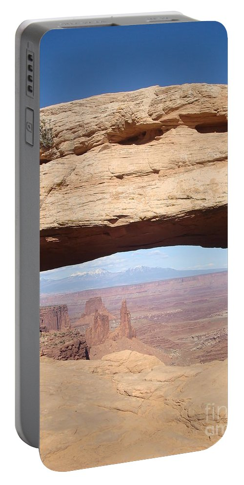 Landscape Portable Battery Charger featuring the photograph View Through Mesa Arch by Maili Page