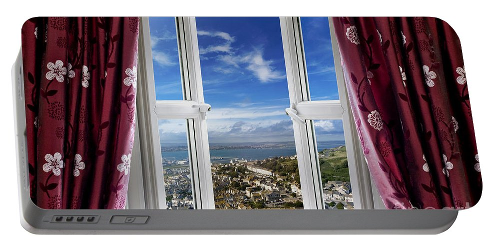 Window Portable Battery Charger featuring the photograph View To The World by Simon Bratt Photography LRPS