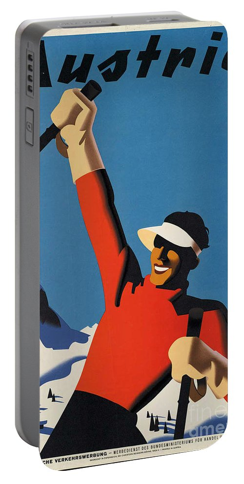 Ski Portable Battery Charger featuring the photograph Vintage Austrian Skiing Travel Poster by George Pedro