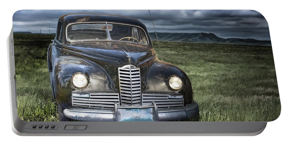 Art Portable Battery Charger featuring the photograph Vintage Auto On The Prairie by Randall Nyhof