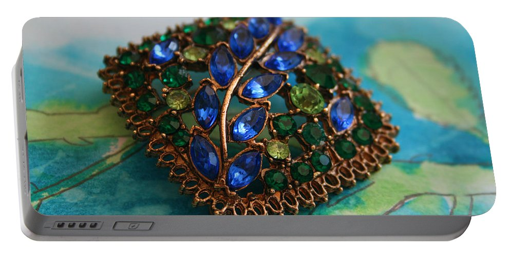 Vintage Portable Battery Charger featuring the photograph Vintage Blue And Green Rhinestone Brooch On Watercolor by Kathy Clark