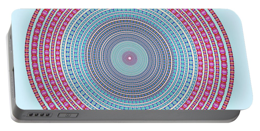 Abstract Portable Battery Charger featuring the digital art Vintage Color Circle by Atiketta Sangasaeng