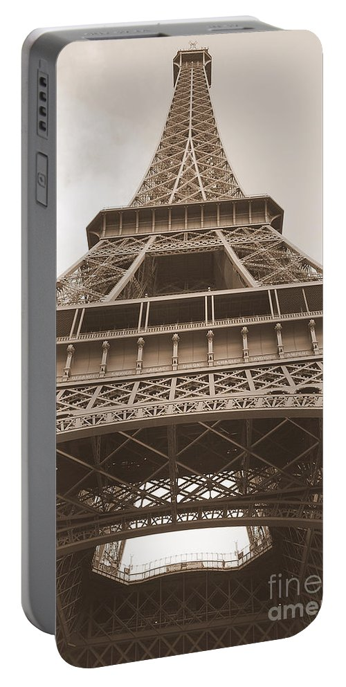 Photography Portable Battery Charger featuring the photograph Vintage Eiffel Tower by Ivy Ho