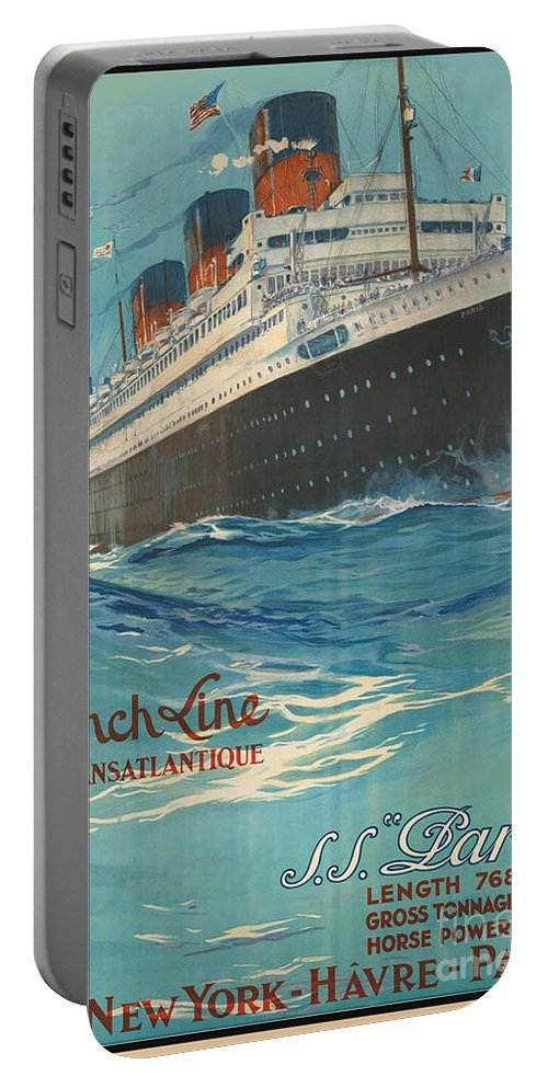 French Line Portable Battery Charger featuring the painting Vintage French Line Travel Poster by George Pedro