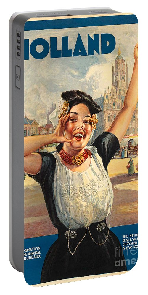 Holland Portable Battery Charger featuring the photograph Vintage Holland Travel Poster by George Pedro