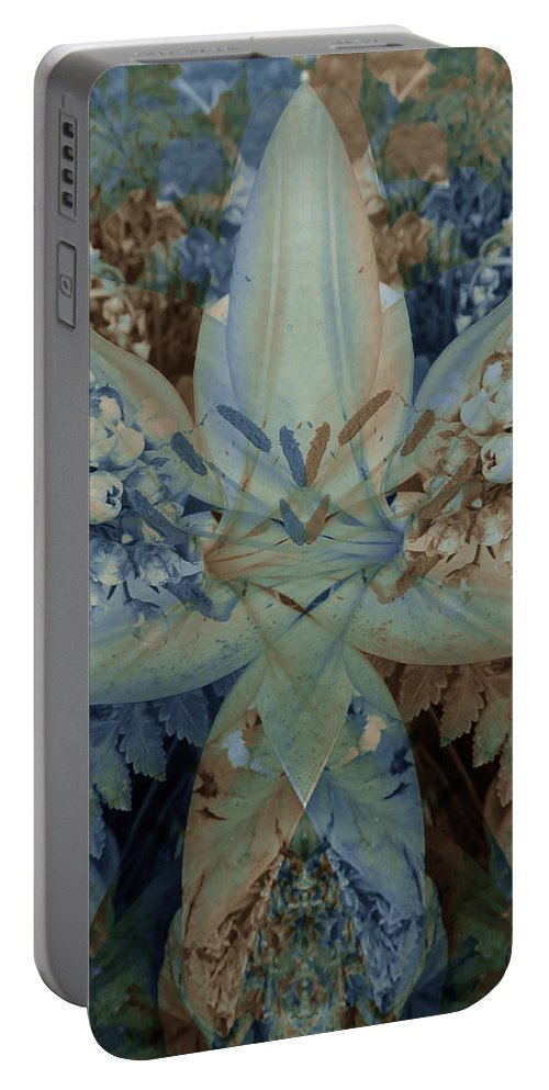 Color Blend Portable Battery Charger featuring the digital art Vintage Lily by Michele Caporaso