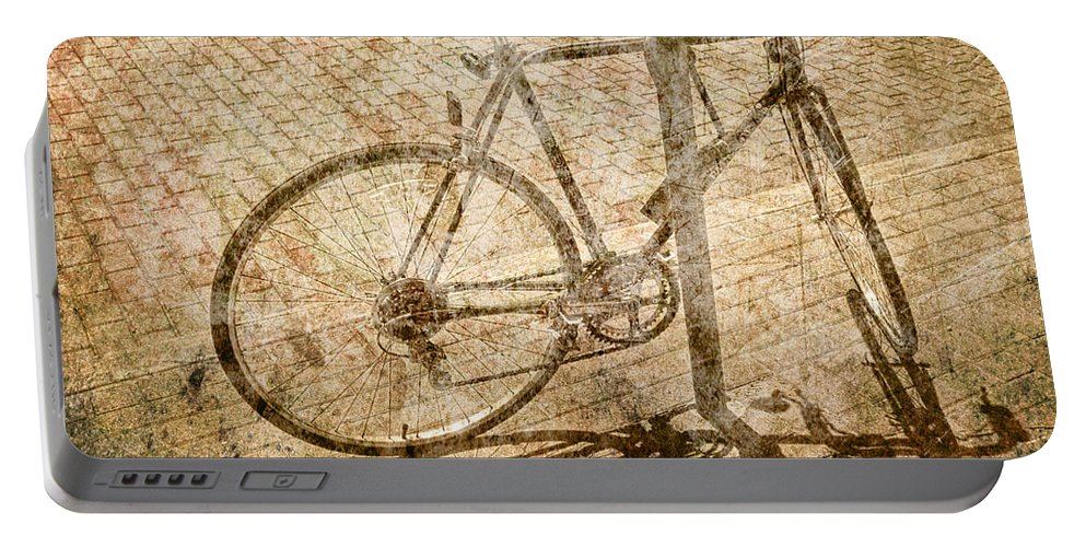 Art Photography Landscape Abstract Collage Surreal Bicycle Ridin Portable Battery Charger featuring the photograph Vintage Looking Bicycle On Brick Pavement by Randall Nyhof