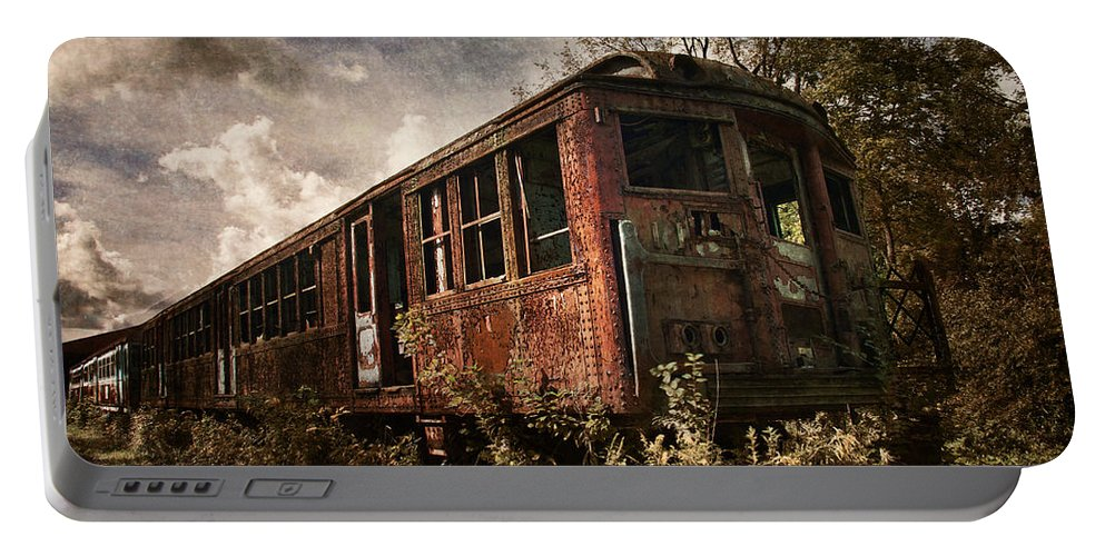 Transit Portable Battery Charger featuring the photograph Vintage Rail Car by Dale Kincaid