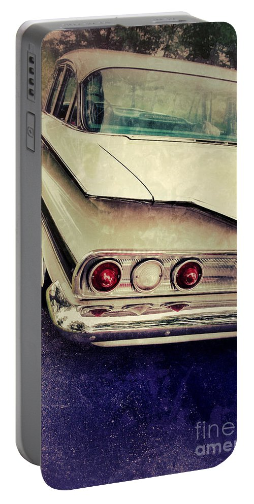 Car Portable Battery Charger featuring the photograph Vintage White Car by Jill Battaglia