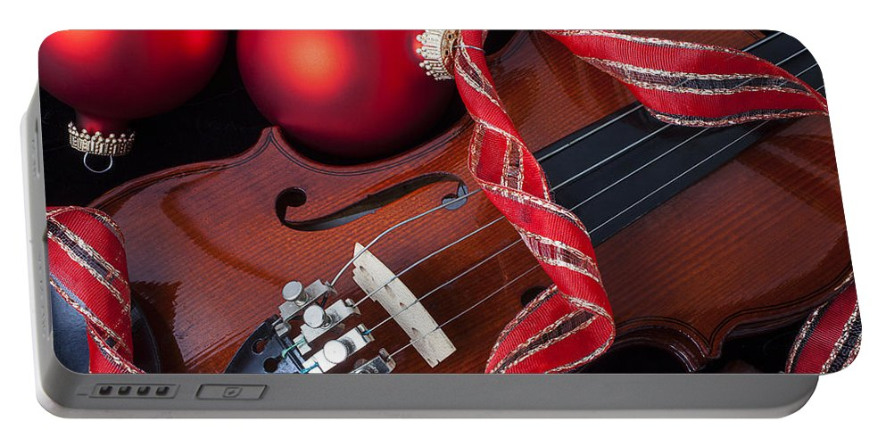 Violin Portable Battery Charger featuring the photograph Violin And Red Ornaments by Garry Gay