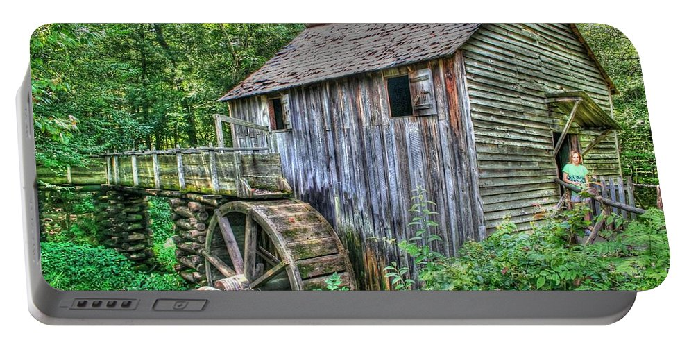 Old Mill Portable Battery Charger featuring the photograph Visiting The Old Mill by Barry Jones