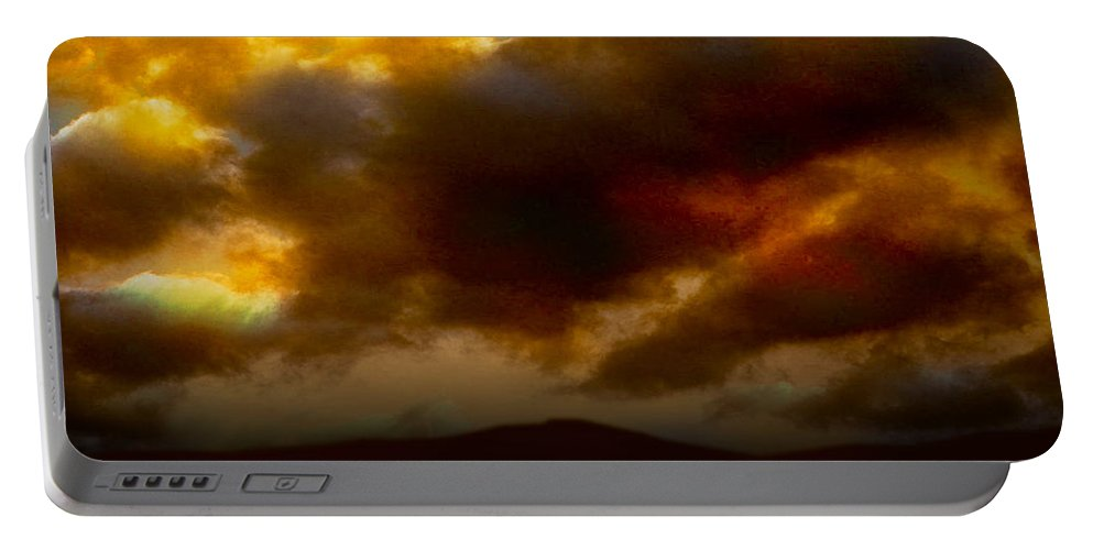 Sunset Portable Battery Charger featuring the photograph Vivachas Golden Hour Sunset Glowing Clouds by Chas Sinklier