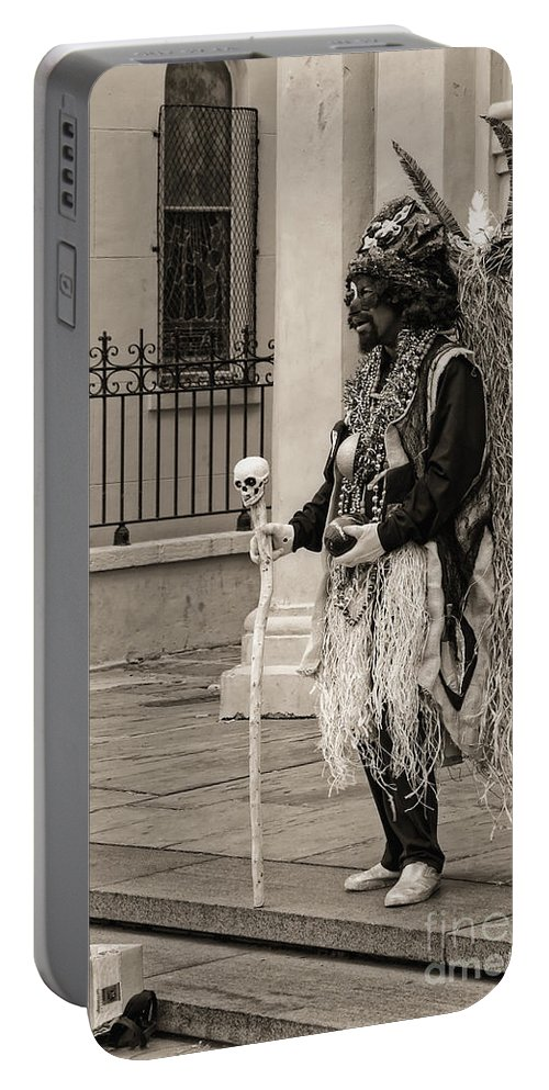 Mime Portable Battery Charger featuring the photograph Voodoo Man In Jackson Square New Orleans- Sepia by Kathleen K Parker
