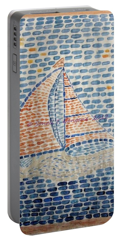 Sailboats Portable Battery Charger featuring the painting Voyage by Sonali Gangane
