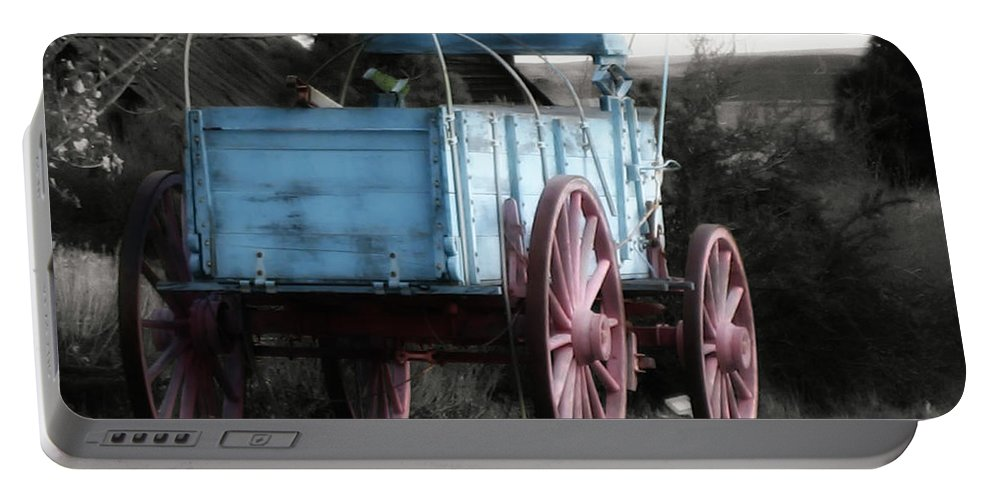 Cart Portable Battery Charger featuring the photograph Wagon Ho by Linda Dunn