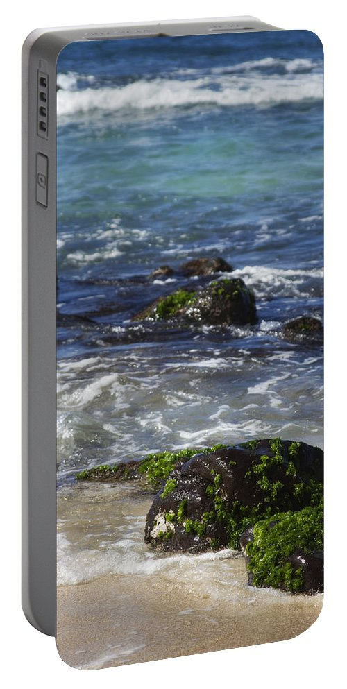 Rocks Portable Battery Charger featuring the photograph Waimea Bay 2 by Jessica Velasco