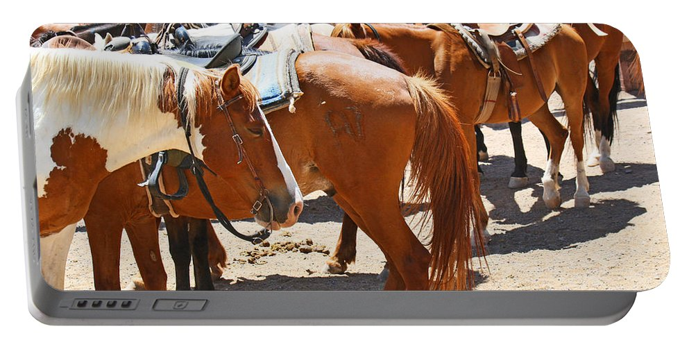 Roena King Portable Battery Charger featuring the photograph Waiting For The Next Rider by Roena King