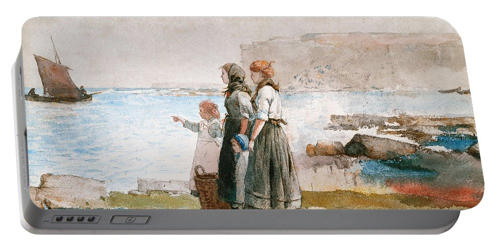 Boat Portable Battery Charger featuring the painting Waiting For The Return Of The Fishing Fleets by Winslow Homer