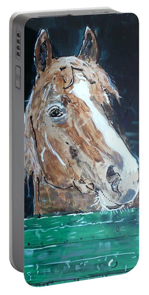 Horse Portable Battery Charger featuring the painting Waiting - Horse Portrait by Anna Ruzsan
