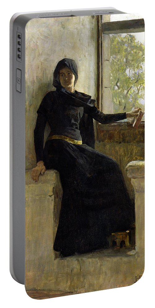 Female; Window; Seated; Black Dress; Medieval Costume; Portrait; Siege Portable Battery Charger featuring the painting Waiting by Jean Pierre Laurens