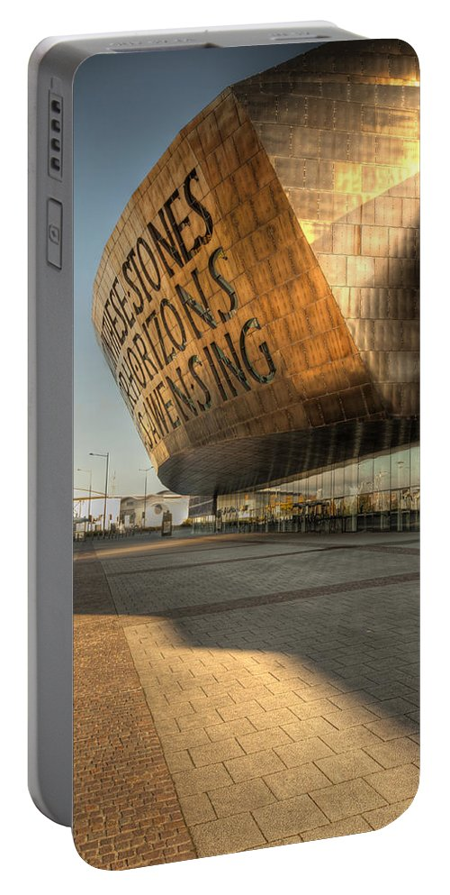 Wales Millenium Centre Portable Battery Charger featuring the photograph Wales Millenium Centre 2 by Steve Purnell