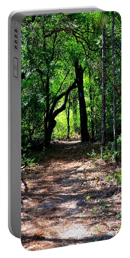 Ocala Portable Battery Charger featuring the photograph Walk In The Woods by Kari Tedrick