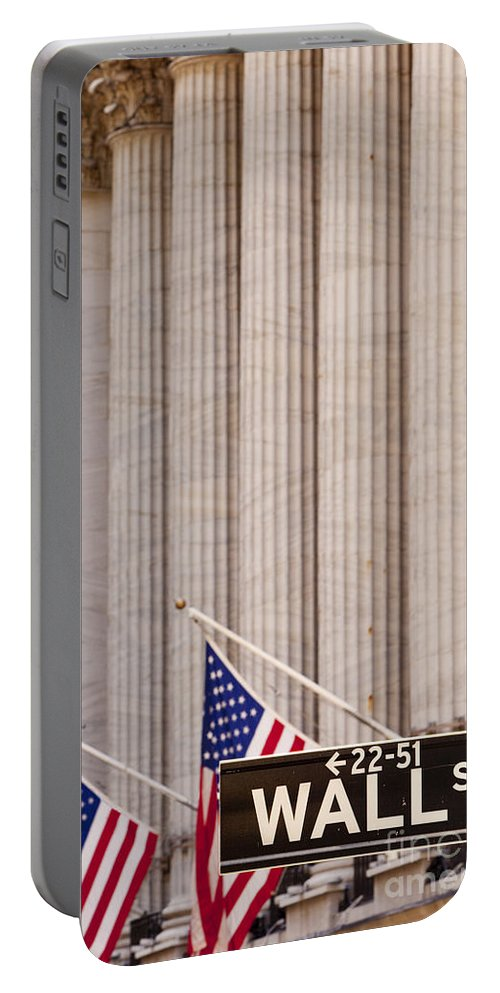 Wall Street Portable Battery Charger featuring the photograph Wall Street Columns by Brian Jannsen