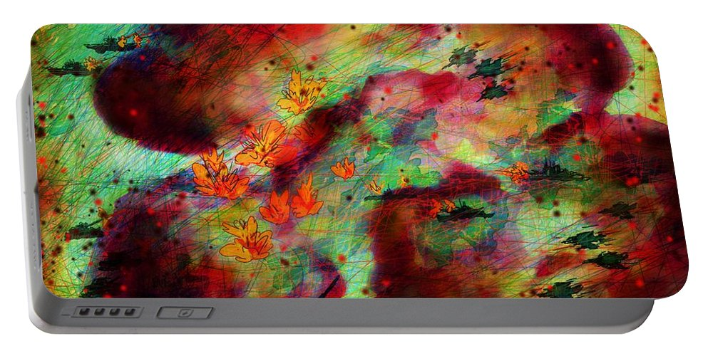 Abstract Portable Battery Charger featuring the digital art War Games by Rachel Christine Nowicki