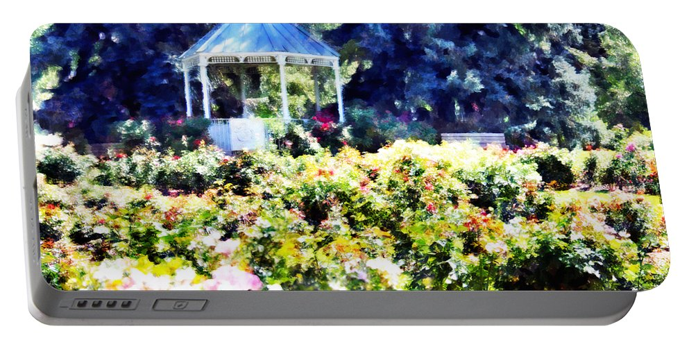 War Portable Battery Charger featuring the mixed media War Memorial Rose Garden 3 by Angelina Vick