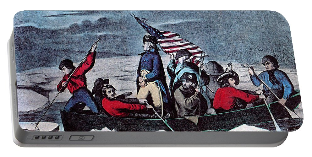 History Portable Battery Charger featuring the photograph Washington Crossing The Delaware, 1776 by Photo Researchers