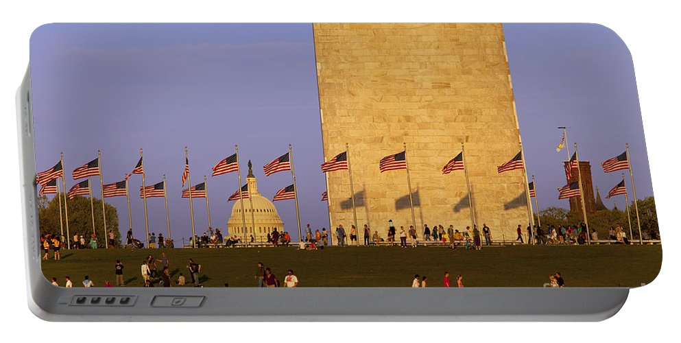 Washington Monument Portable Battery Charger featuring the photograph Washington Dc Sunset by Brian Jannsen