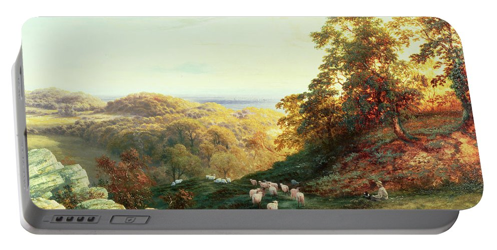 Watching The Flock Portable Battery Charger featuring the painting Watching The Flock by George Vicat Cole