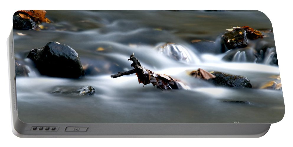 Flowing Water In Brook Portable Battery Charger featuring the photograph Water Cascades by Optical Playground By MP Ray