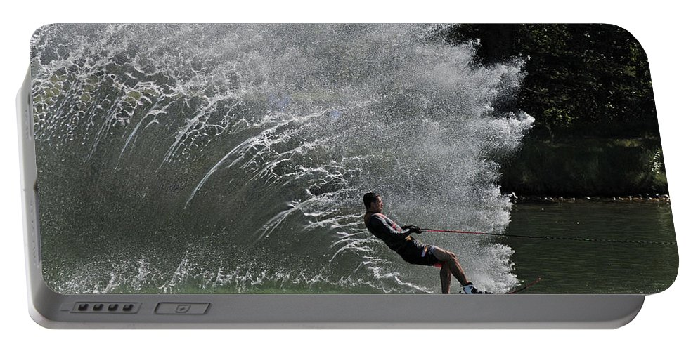 Water Skiing Portable Battery Charger featuring the photograph Water Skiing 20 by Vivian Christopher