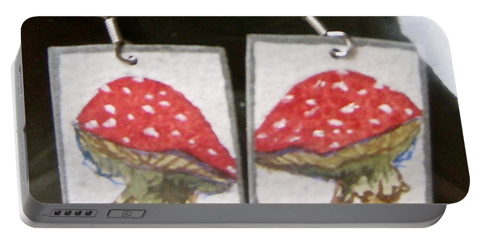 Earrings Portable Battery Charger featuring the jewelry Watercolor Earrings Amanita by Beverley Harper Tinsley