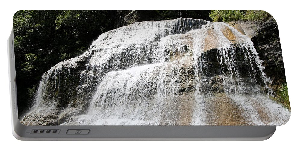 Treman Portable Battery Charger featuring the photograph Waterfall At Treman State Park Ny by Ted Kinsman
