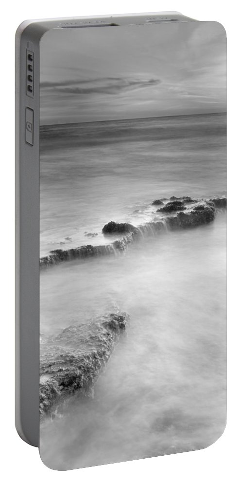 Black And White Portable Battery Charger featuring the photograph Waterfalls On The Rocks M by Guido Montanes Castillo