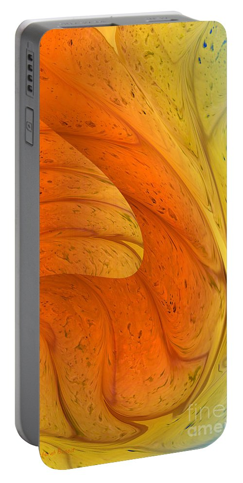 Abstract Portable Battery Charger featuring the digital art Waves Of Sanity by Deborah Benoit
