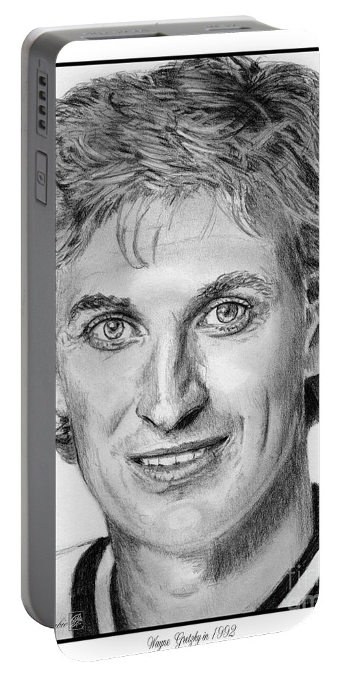 Wayne Gretzky Portable Battery Charger featuring the drawing Wayne Gretzky In 1992 by J McCombie