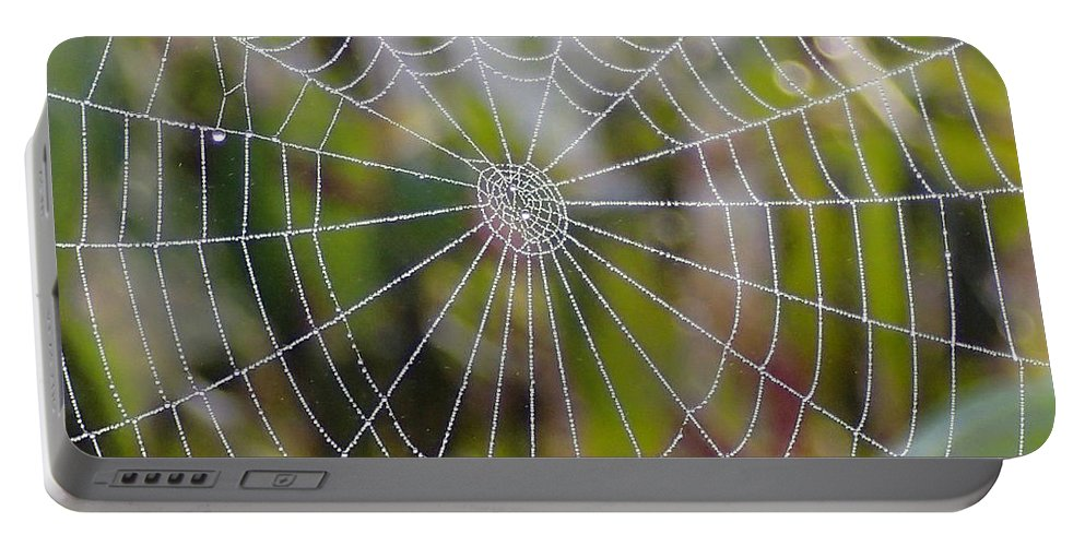 Spider Web Portable Battery Charger featuring the photograph Web Design by Doris Potter