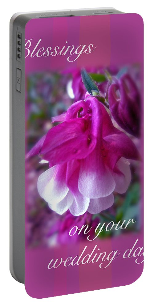 Wedding Portable Battery Charger featuring the photograph Wedding Blessings Greeting Card - Columbine Blossom by Mother Nature