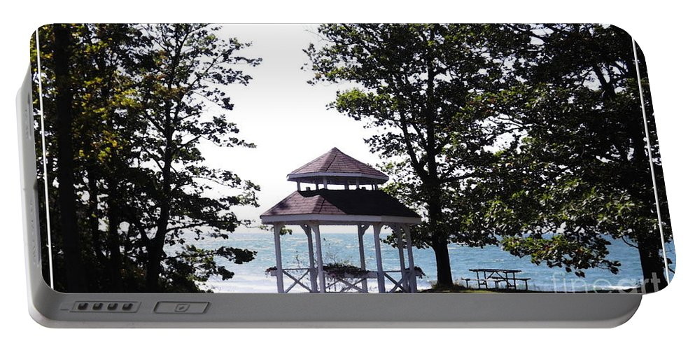 Wedding Gazebo Portable Battery Charger featuring the photograph Wedding Gazebo By Lake Erie At Evangola State Park by Rose Santuci-Sofranko