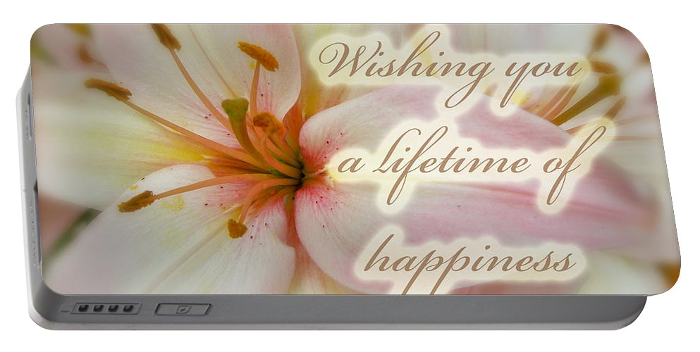 Wedding Portable Battery Charger featuring the photograph Wedding Happiness Greeting Card - Lilies by Mother Nature