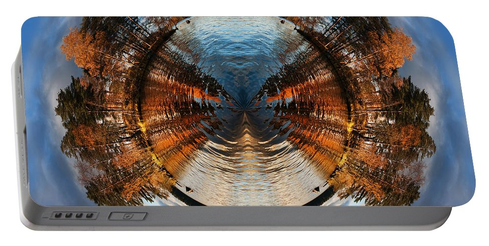 Okunevy Island Portable Battery Charger featuring the digital art Wee Lake Vuoksa Twin Islands by Nikki Marie Smith