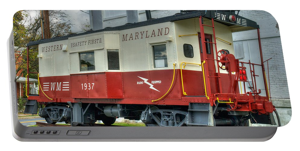 Hampstead Portable Battery Charger featuring the photograph Western Maryland Caboose by Mark Dodd